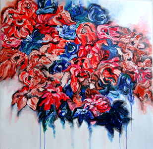 love blooms in nature 7 by shivangi Pandey, Impressionism Painting, Acrylic on Canvas, Pink color