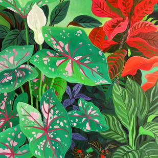 Caladium by Vishwajyoti Mohrhoff, Photorealism Painting, Acrylic on Canvas, Green color