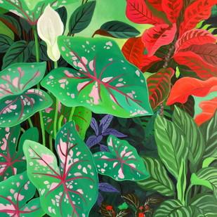 Caladium by Vishwajyoti Mohrhoff, Photorealism Painting, Acrylic on Canvas, Green color