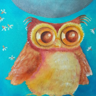 Owl Love 1 by Prenita Dutt, Impressionism Painting, Oil on Canvas, Cyan color