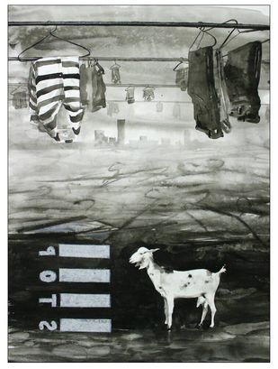 I don't have place in city by Rudra Majithia, Expressionism Drawing, Watercolor on Paper, Gray color
