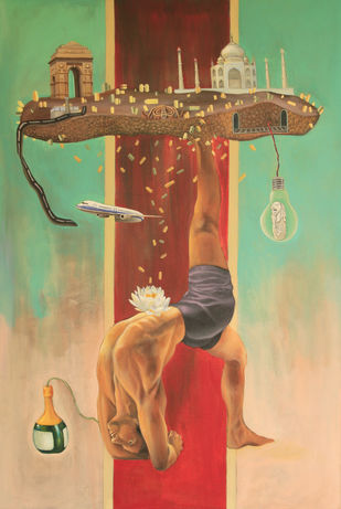 Euphoria by Ankur, Surrealism Painting, Acrylic on Canvas, Brown color