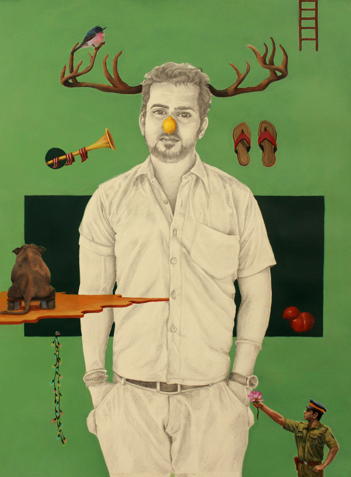 HE FOOLED ME by Ankur, Fantasy Painting, Mixed Media on Paper, Green color