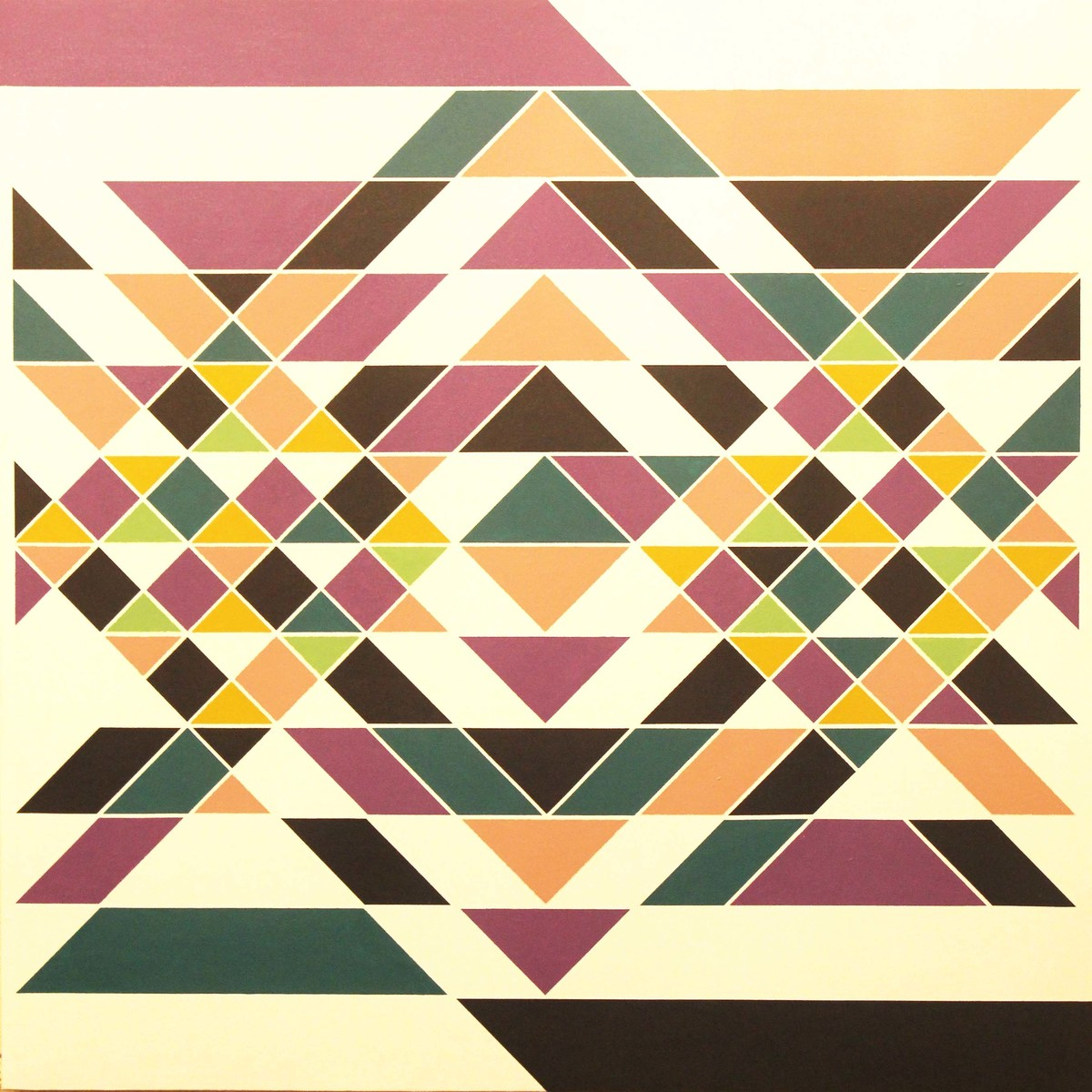 intermingling by A. Sreedharan, Geometrical Painting, Acrylic on Canvas, Beige color