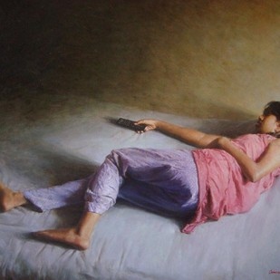 Wonder world by Anupam Halder, Realism Painting, Oil on Canvas, Brown color