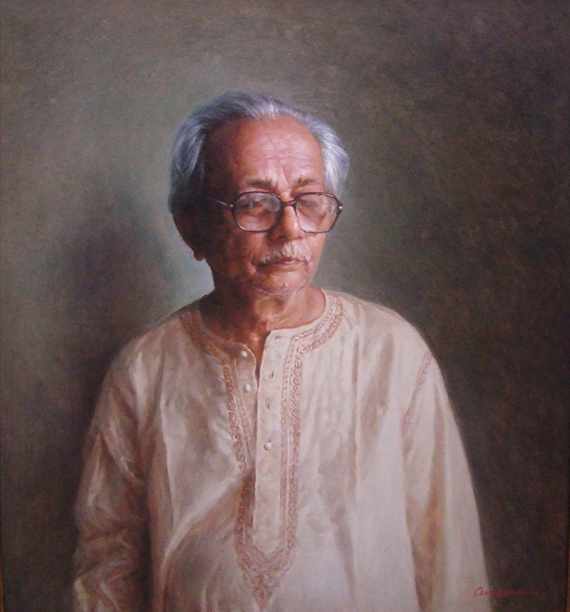 Perception by Anupam Halder, Realism Painting, Oil on Canvas, Brown color