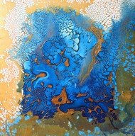Into the deep by Vernika, Abstract Painting, Mixed Media on Canvas, Blue color