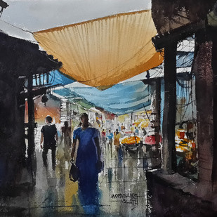 Market by Mopasang Valath, Impressionism Painting, Watercolor on Paper, Gray color