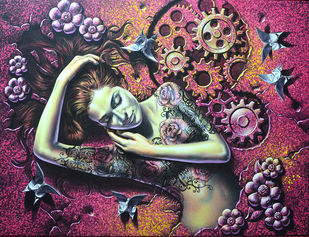 Take a rest by Prashanta Nayak, Fantasy Painting, Acrylic on Canvas, Brown color