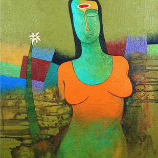 Parijat by Kiran sherkhane , Expressionism Painting, Acrylic on Canvas, Green color