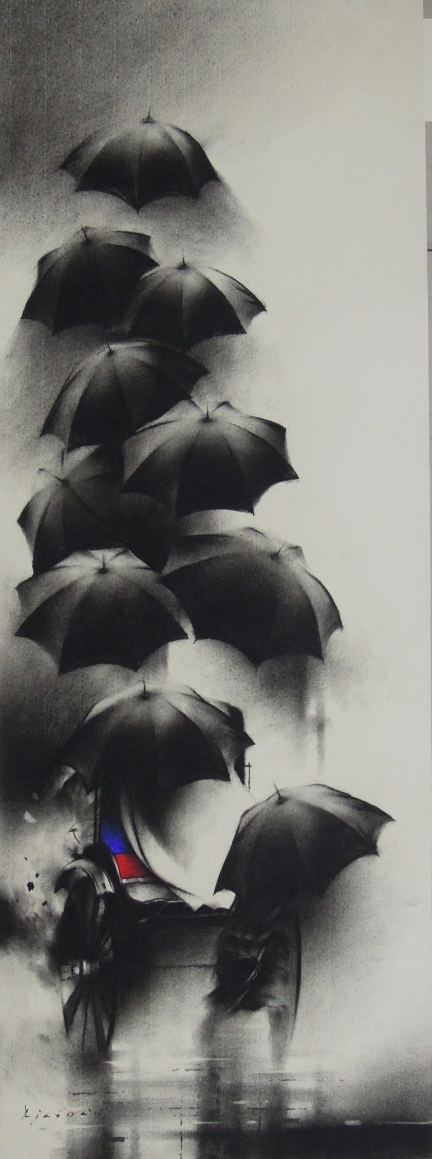 Monsoon in Calcutta I by Ajay De, Expressionism Painting, Charcoal on Paper, Gray color