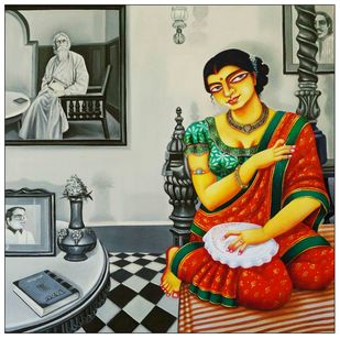 Charulata I by Gautam Mukherjee, Traditional Painting, Acrylic on Canvas, Brown color