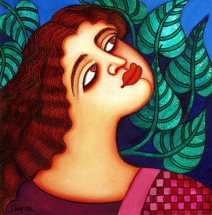 She I by Shipra Bhattacharya, Expressionism Painting, Oil & Acrylic on Canvas, Brown color