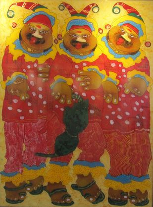 Clowns by Shyamal Mukherjee, Expressionism Painting, Acrylic on Acrylic Sheet, Brown color