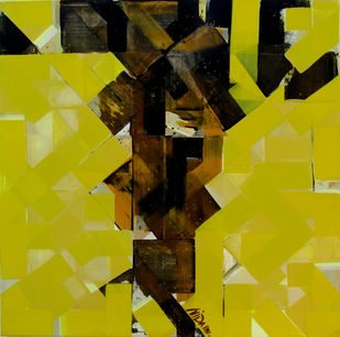 urban mindscape by arindam bose, Abstract Painting, Acrylic on Canvas, Green color