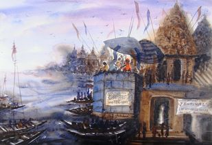 ''Morning Light in Banaras - VIII'' by Anirban Seth, Impressionism Painting, Watercolor on Paper, Brown color