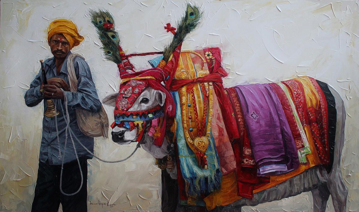 Gangireddu 05 by Iruvan Karunakaran, Impressionism Painting, Acrylic on Canvas, Gray color