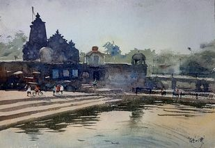 Naroshankar temple by Rudra Majithia, Impressionism Painting, Watercolor on Paper, Gray color