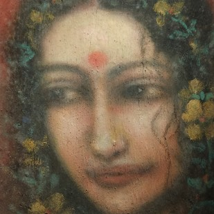 Radha by Suhas Roy, Expressionism Painting, Mixed Media on Canvas, Brown color