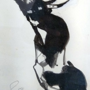 Bull I by Sunil Das, Expressionism Painting, Ink on Paper, Gray color