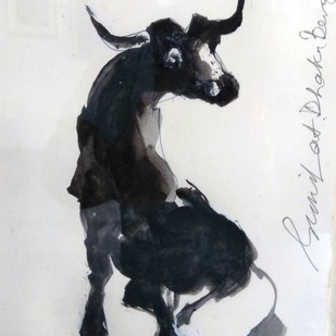 Bull II by Sunil Das, Impressionism Painting, Ink on Paper, Gray color