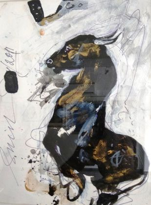 Bull III by Sunil Das, Expressionism Painting, Acrylic on Paper, Gray color