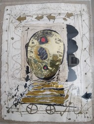 Face by Sunil Das, Abstract Painting, Mixed Media on Paper, Gray color