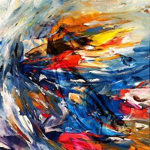 SEA OF TRANQUALITY -1 by Gopal Mehan, Abstract Painting, Oil on Canvas, Brown color