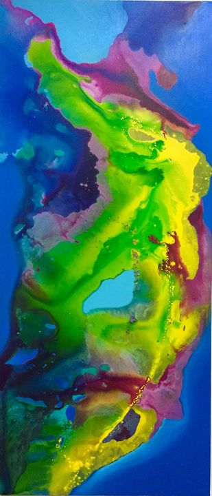 Coast by Vernika , Abstract Painting, Acrylic on Canvas, Green color