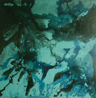 Aqua by Vernika , Abstract Painting, Acrylic on Canvas, Blue color