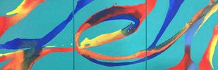 Ribbons(Triptych) by Vernika , Abstract Painting, Acrylic on Canvas, Cyan color