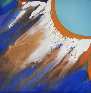 The Sun by Vernika, Abstract Painting, Acrylic on Canvas, Blue color