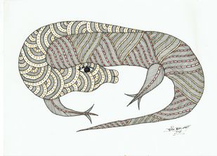 Revisit to Forest by Sunil Shyam , Tribal Drawing, Pen & Ink on Paper,