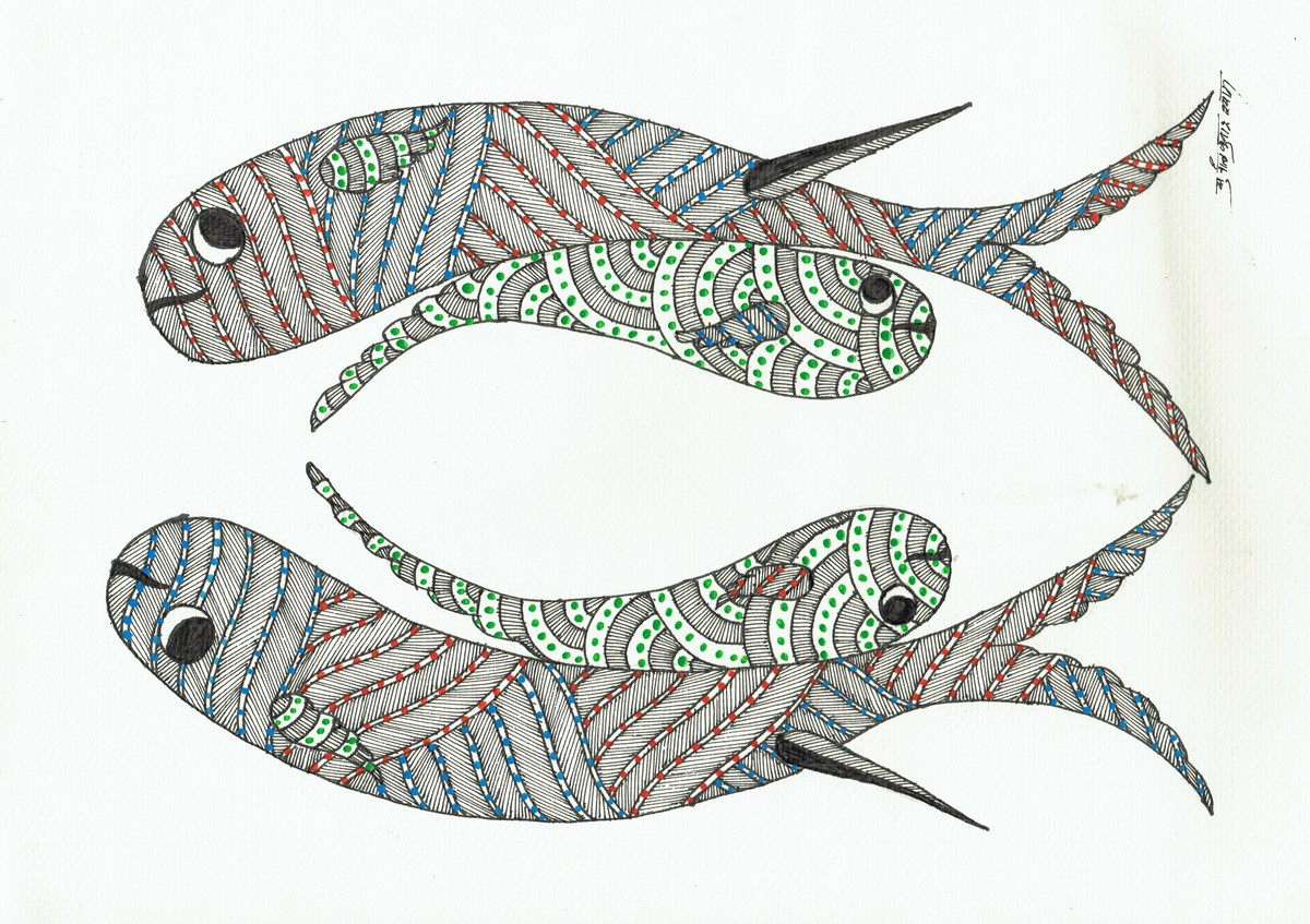 Aquatic by Sunil Shyam , Tribal Drawing, Pen & Ink on Paper,