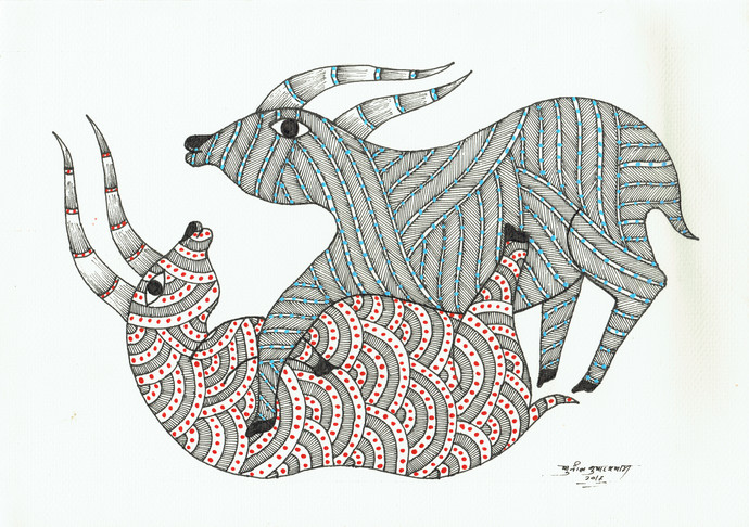 Playful by Sunil Shyam , Folk Drawing, Pen & Ink on Paper,