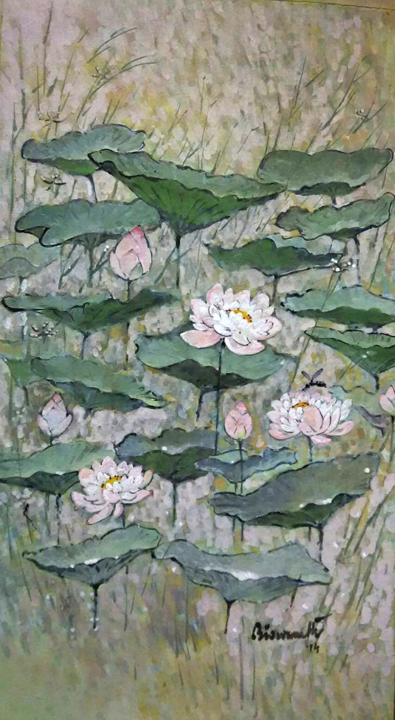 lotus pond by Biswanath Ghosh, Impressionism Painting, Gouache on Paper, Green color