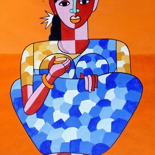 telangana women by Naheem Rustum, Expressionism Painting, Acrylic on Paper, Orange color