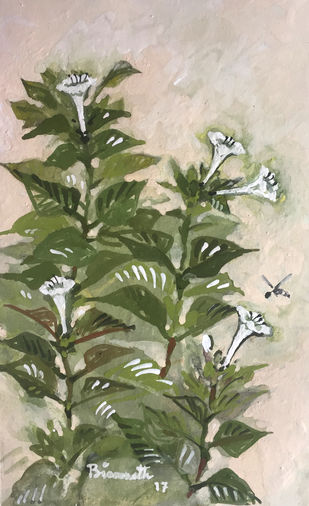 the plant by Biswanath Ghosh, Impressionism Painting, Gouache on Paper, Beige color