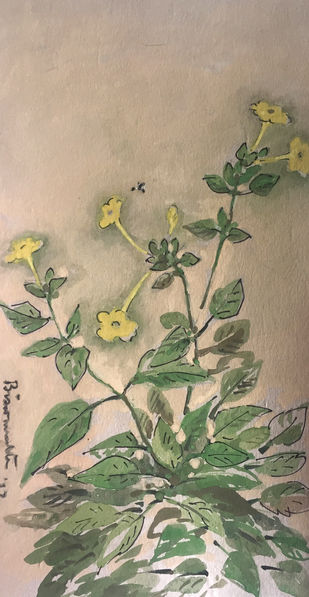 flowers and a bee by Biswanath Ghosh, Impressionism Painting, Gouache on Paper, Beige color