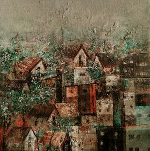 Colorfully Village by M Singh, Geometrical Painting, Acrylic on Canvas, Brown color