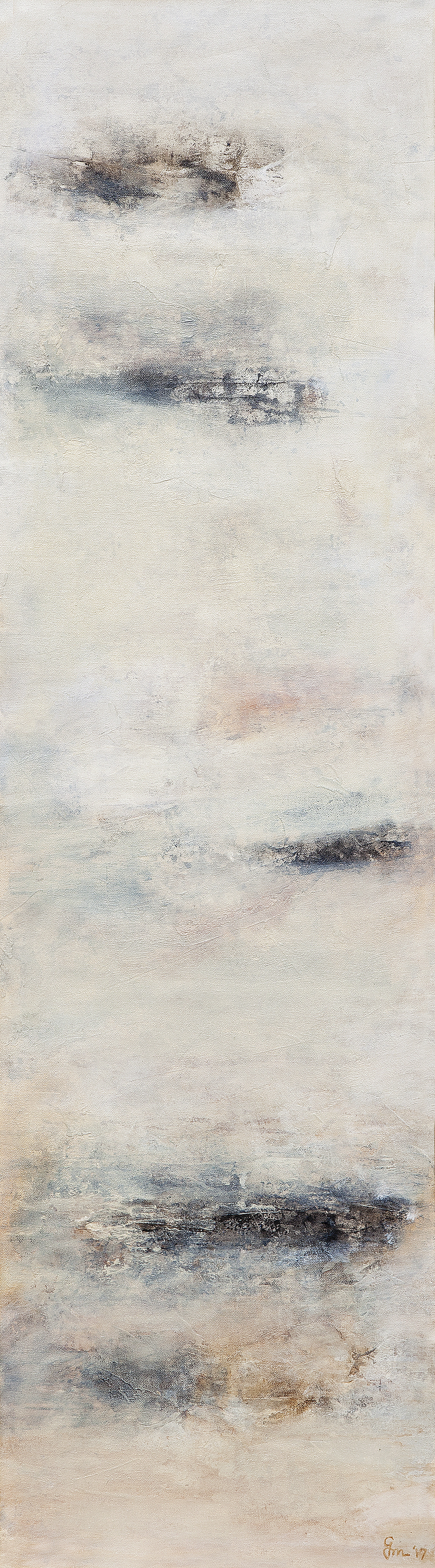 Untitled by Goutam Mukherjee, Minimalism Painting, Acrylic on Canvas, Beige color