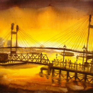 The Second Hoogli Bridge in Kolkata by Anirban Seth, Impressionism Painting, Watercolor on Paper, Brown color