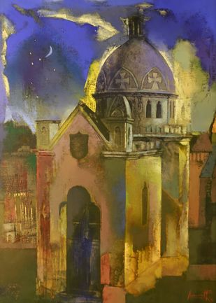 Structure by Somenath Maity, Impressionism Painting, Oil on Canvas, Brown color