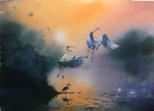 Egret 01 by Prashant Sarkar, Impressionism Painting, Watercolor on Paper, Blue color