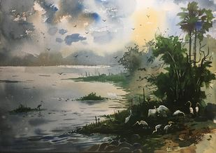 Egret 02 by Prashant Sarkar, Impressionism Painting, Watercolor on Paper, Gray color
