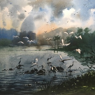 Egret 03 by Prashant Sarkar, Impressionism Painting, Watercolor on Paper, Gray color