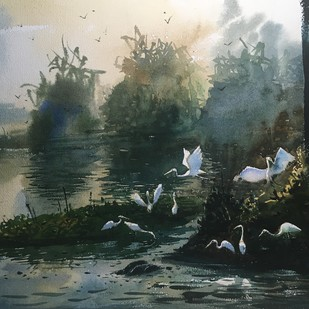 Egret 04 by Prashant Sarkar, Impressionism Painting, Watercolor on Paper, Green color