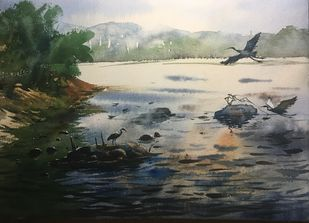 Egret 05 by Prashant Sarkar, Impressionism Painting, Watercolor on Paper, Gray color