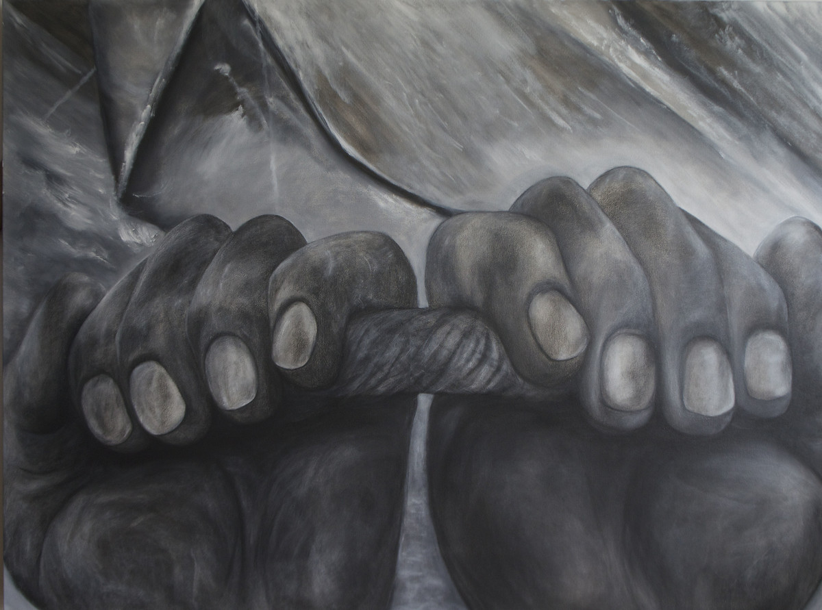 HANDS by Manu Singh, Realism Painting, Mixed Media on Canvas, Gray color