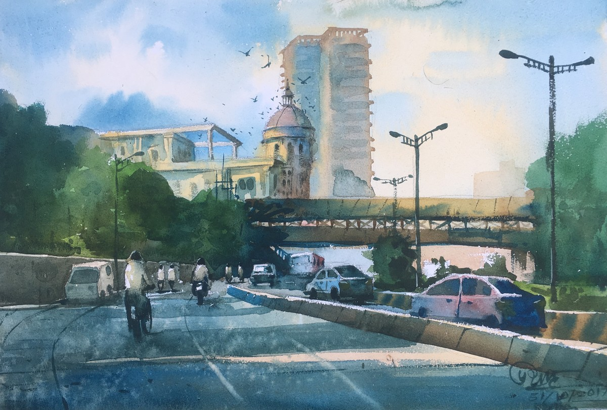 watercolor painting at powai lake 04 by artist prashant sarkar